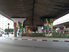 Colorful underpass near the Tunis Marine TGM station
