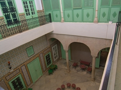 Interior courtyard of our Tunis medina hotel, Dar Ya
