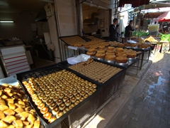 Tunisians love their desserts! A massive selection on sale at Halfaouine
