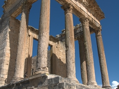 The massive temple of the Capitol, a gift to the city of Dougga in 166 AD