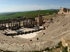 Panoramic view of the magnificent theater; Dougga