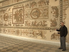 Robby showcasing one of the massive mosaics on display at the Bardo Museum