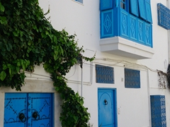The cobblestoned village of Sidi Bou Said is reputedly one of Tunisia's prettiest with its gleaming white and bright blue color scheme