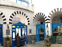 Interior courtyard view of Dar el-Annabi, a vibrantly tiled 18th century family home