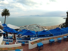 The view overlooking the Gulf of Tunis; Cafe des Delices