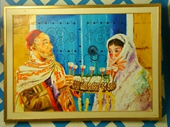 Painting of a man handing a woman a jasmine flower (Tunisia's national flower); Residence el Amen