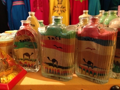 Sand in a bottle, Tunisian souvenirs on display