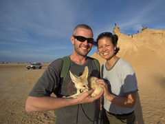 Playing with a fennec fox; Ong Jemal