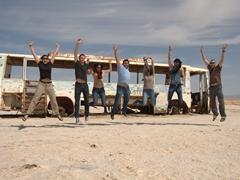Becky, Gregory, Hela, Ala, Nissaf, Aymen and Robby jump for joy; Chott el-Jerid