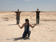Aymen carries Robby and Gregory effortlessly; Chott el Jerid