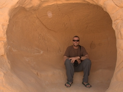 Robby hides out from the heat in a Dbebcha cave