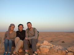 Nissaf, Becky and Robby strike a pose at Fort Tisavar; Ksar Ghilane