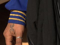 "Close up of Ali's ""free man"" Tuareg tattoo"
