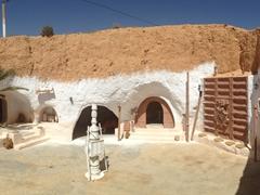 Hotel Sidi Driss' courtyard, the scene for young Skywalker's childhood home; Matmata