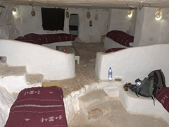 Our awesome cave hotel room with a whopping 11 beds built into 3 caves; Residence Kenza