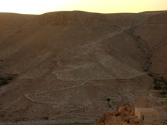 The zig zag path taken by Berbers up the mountain