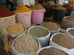Grains and spices for sale at Tataouine market