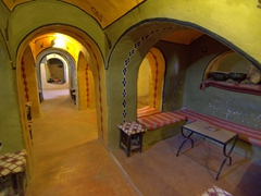 Resting area at the tea house of Ksar Ouled Dabbab