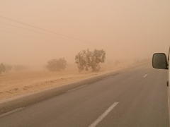 A terrible dust storm on 22 March descends upon Tunisia (and Sicily as we later found out on the news). We were glad that we were traveling from Tataouine to Sfax today!