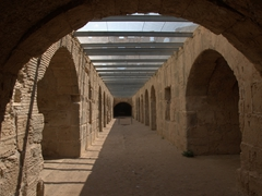 Exploring the two long underground passageways used to hold animals and gladiators who spent their last moments here before being thrown into the arena for everyone's entertainment; El Jem Colosseum