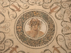 "Mosaic of a wealthy villa owner in the ancient city of Thysdrus (which today is called ""El Jem"")"