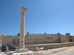 A solitary Roman column stands in the medina