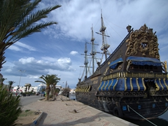 Pirate ship docked in Sousse Harbor