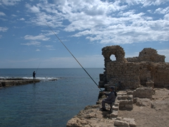 Fishermen try their luck near Fatimid fortifications; Mahdia