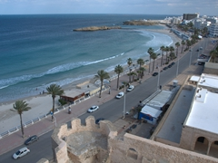 View of Monastir's coastline as seen from the top of the nador (tower) of the Ribat