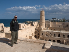 Robby strikes a pose in the Ribat of Harthema, one of the country's finest examples of military architecture