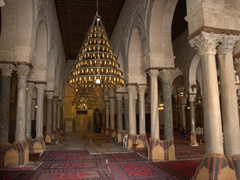 Interior prayer hall. The 414 pillars were taken from Carthage and recycled here; Great Mosque