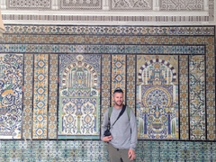 Robby admiring the tilework of the Mosque of the Barber
