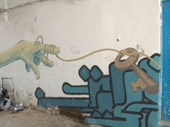 Finger and key mural in Tunis
