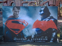 Superman vs Batman movie poster; Mtatsminda Park
