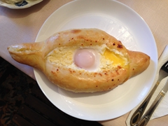Traditional dish of Khachapuri (cheese and egg filled bread)...delicious!