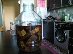 Home made chacha infused with oak for flavor and color