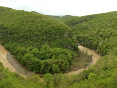 A bend in the Tskhaltsitela River near Motsameta Monastery