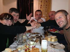 Sofi, Aleko, Khvicha, Gocha and Robby enjoying themselves over our dinner supra