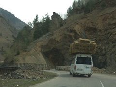 An overloaded marshukta on the way to Svaneti