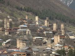 Numerous koshki (defensive stone tower) in lovely Mestia