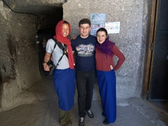 Posing with Giorgi (our Georgian friend we met in Kabul, Afghanistan) and Ellee at the Church of the Dormition. All women must wear a skirt and head covering; Vardzia