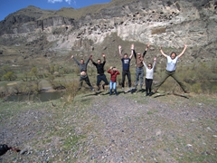 Jumping for joy in front of Vardzia
