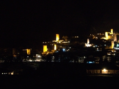 Night shot of Mestia's defensive towers