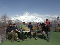 Becky, Sofi, Khvicha, Zsa Zsa, Lars and Robby soaking up the sun at the top of Hatsvali ski lift