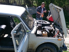 We had to take frequent breaks to refuel the Lada