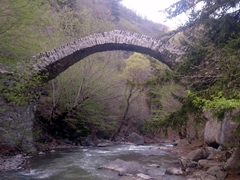 A centuries old stone footbridge is still in use today!