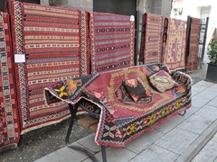 Kilims for sale in Tbilisi. Starting prices were very low...we would definitely buy a carpet here if Becky hadn't already scooped some up back in 2003!