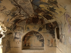 Annunciation Church cave with frescoes of Jesus Christ and his disciples; David Gareja