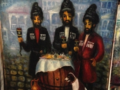Painting of Georgian men in chokha drinking out of wine horns
