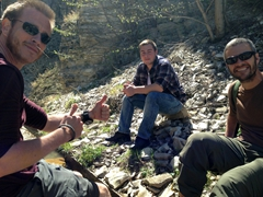 Lars, Shota and Robby chilling after hiking around Ertatsminda
